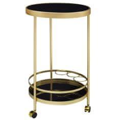 Bruxxi Servírovací stolík Helm, 76 cm, zlatá/čierna