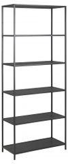 Design Scandinavia Knižnica Seaford II., 185 cm, čierna