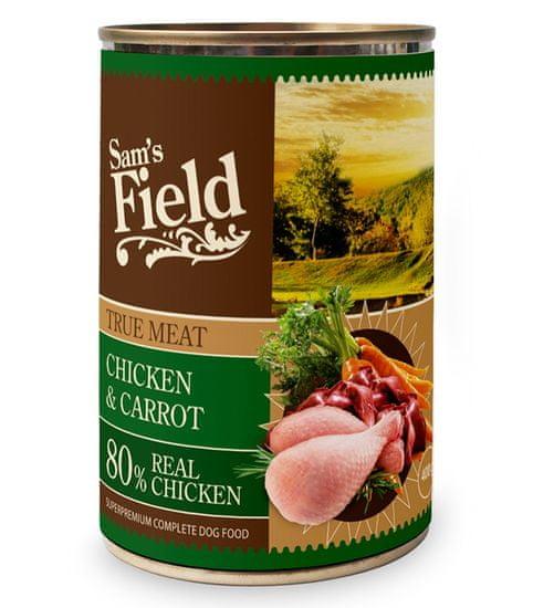 Sams' Field True Meat hrana za pse, piščanec in korenje, pločevinka, 400 g