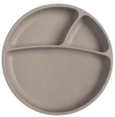 Minikoioi otroški krožnik iz silikona in vakumsko pritrditvijo, siva