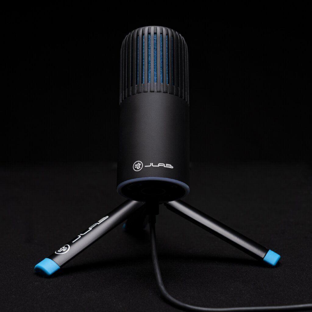 modern asztali hordozható mikrofon jlab talk go usb könnyű szerkezet mindenirányú és kardioid irányított jellemzők aux in bemenet quick mute nyomógomb