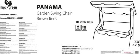 Happy Green Zahradní houpačka Panama Brown Lines, 110 × 170 × 153 cm