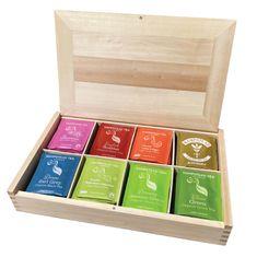 Hampstead Tea London luxusní přírodní dřevěná kazeta mix BIO sáčkových čajů 80ks 8 druhů