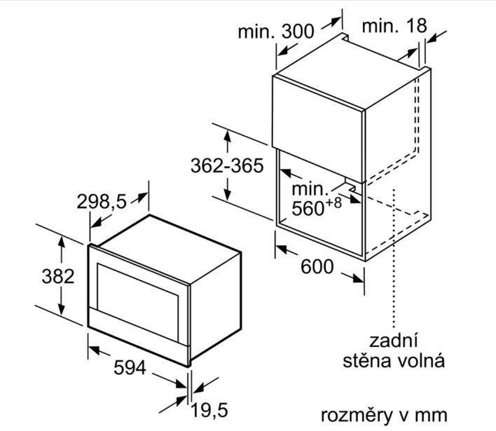 Bosch vestavná mikrovlnná trouba BFL634GB1