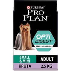 Purina Pro Plan pasja krma s puranom Small & Mini Adult OPTIDIGEST Grain Free, 2,5 kg