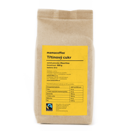 mamacoffee Fairtrade třtinový cukr Mauritius 500 g - Zlatavě zbarvený s jemnou máslovou chutí