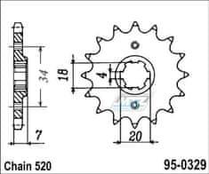 MTZ Kolečko řetězové (pastorek) 95-0329-14zubů MTZ - Honda TLM200R + TLR200D + TLM220R + CA125S Rebel + MBX125FE + MBX125 + MTX125R + NS125F + NS125R + NSR125F (5605) 95-0329-14