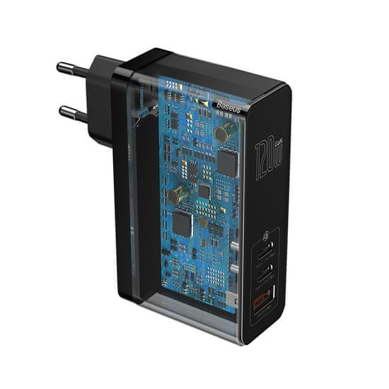 BASEUS GaN Mini gyorstöltő adapter USB + 2x Type-C 120W EU + Xiaobai kábel Type-C/Type-C 100W 1m CCGAN-J01, fekete