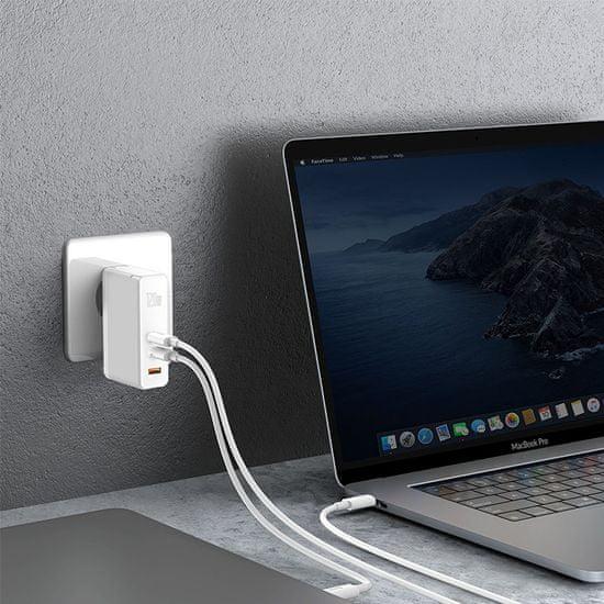 BASEUS GaN Mini gyorstöltő adapter USB + 2x Type-C 120W EU + Xiaobai kábel Type-C/Type-C 100W 1m CCGAN-J02, fehér