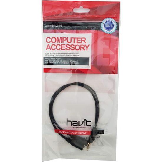 Havit adapter 3.5 mm (M) na 2x 3.5 mm (Ž – mikrofon + slušalke)