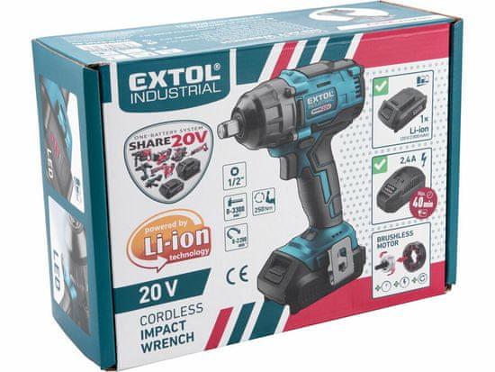 """Extol Industrial Uťahovák rázový akumulátorový Share 20V, 1/2"""", bezuhlíkový motor, 1x 2Ah Li-ion, 2,4A nabíjačka, 250Nm"""