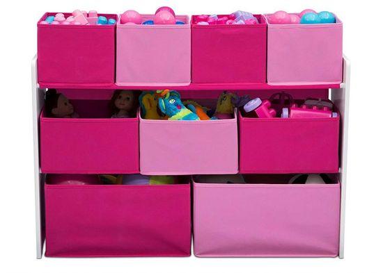 bHome Organizér na hračky bílo-růžový