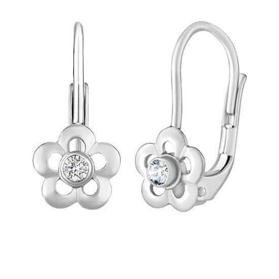 Silvego Ezüst virág fülbevalók Swarovski® cirkónium kövekkel SILVEGOB70164SW
