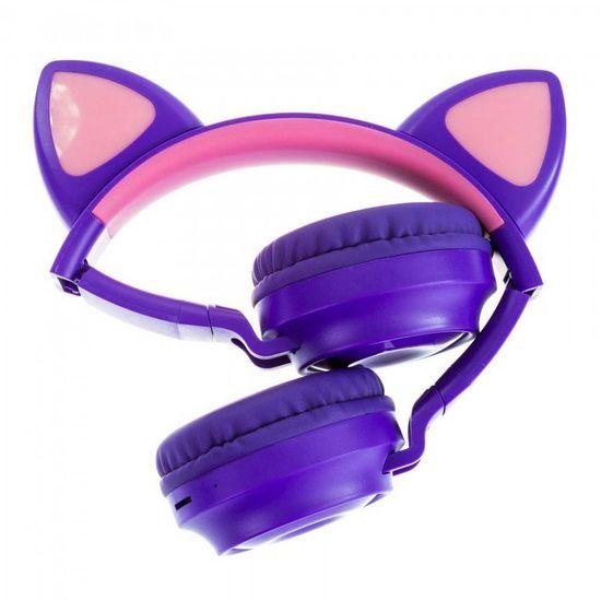 MG M028 bezdrôtové slúchadlá s mačacími ušami, fialové