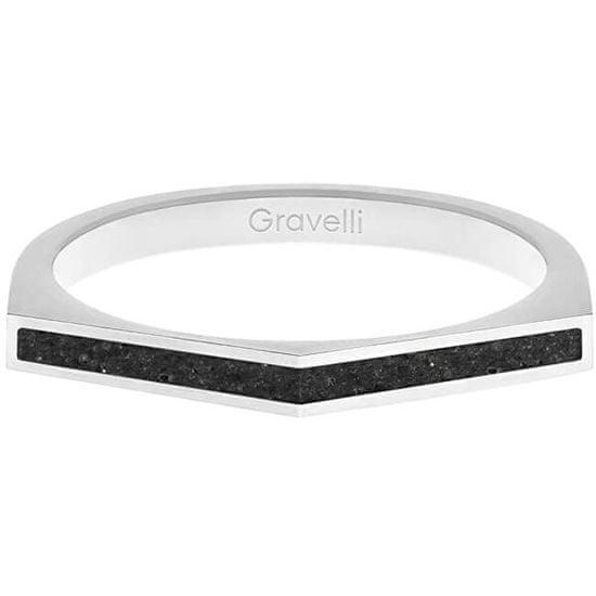 Gravelli Ocelový prsten s betonem Two Side ocelová/antracitová GJRWSSA122
