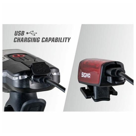Sigma Aura 80 USB + Blaze sprednja in zadnja svetilka za kolo, črna