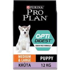 Purina Pro Plan Medium & Large Puppy Optidigest Grain Free s krůtou 12 kg