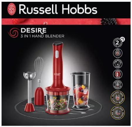 Russell Hobbs 24700-56 Desire 3 az 1-ben botmixer, 500W, 2 sebességfokozat, Habverő, Aprító, Kehely, Pulse funkció, Piros