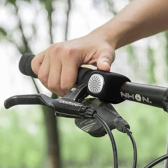 Netscroll Elektronický zvonek na kolo nebo koloběžku s 3 různými vyzváněními, BicycleHorn