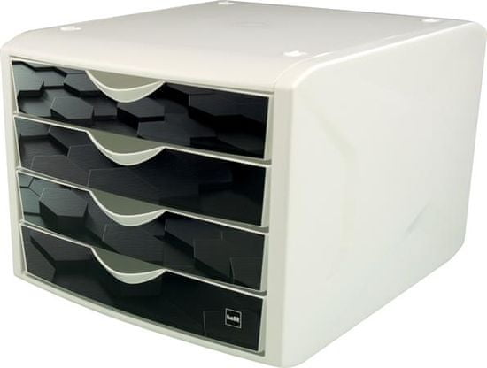 """Helit Zásuvkový box """"Chameleon"""", 4 zásuvky, černá, plast H6129695"""