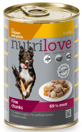 Nutrilove Dog chunks, jelly CHICKEN NOODLES Kutyatáp - 12 x 415g