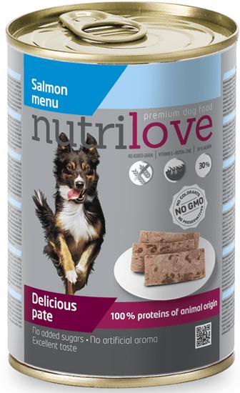 Nutrilove hrana za odrasle pse Salmon Menu, pašteta z lososom, 12 x 400 g