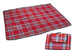 WERK Pikniková deka so spodnou nepremokavou vrstvou 150x200 cm, červená károvaná T-245-CK