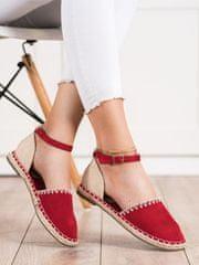 Moderní baleríny červené dámské bez podpatku, odstíny červené, 40