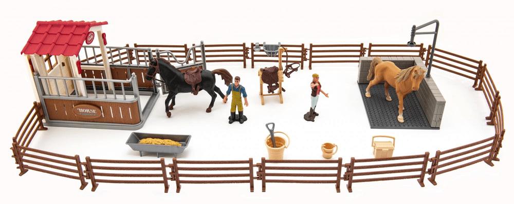 Teddies Výběh/Ohrada pro koně + ošetřovatelé + kůň 2ks