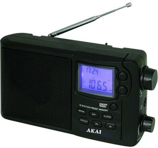 Akai APR-2418 ébresztőórás rádió, fekete