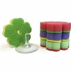 LAKMA SILUX HOUSEHOLD houbičky na nádobí ve tvaru kytičky 4 ks + přísavka zdarma