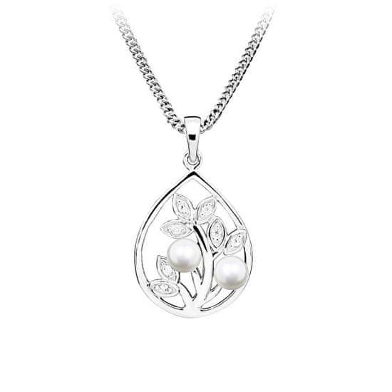 MOISS Luksuzni srebrni obesek z biseri in cirkoni PP000119 srebro 925/1000