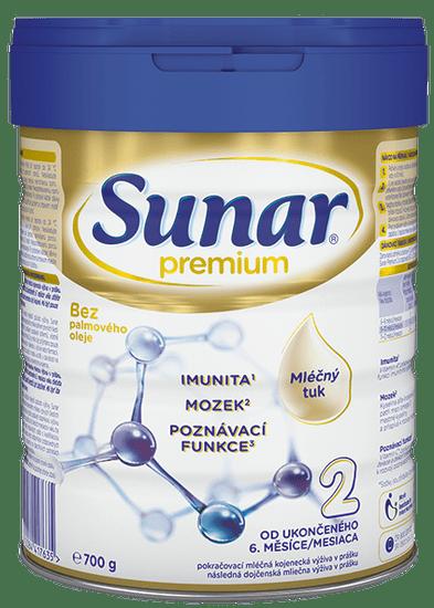 Sunar Premium 2, pokračovacie dojčenské mlieko, 700g