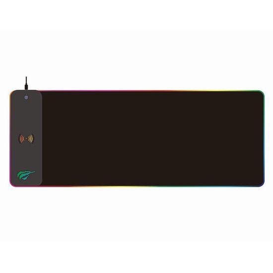 Havit Gamenote MP907 RGB gaming podloga za miško + brezžični polnilnik, čierna