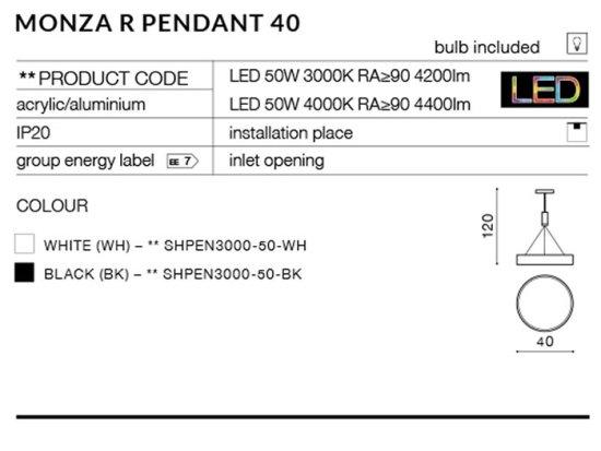 AZZARDO Monza Square 22 black LED mennyezeti és fali lámpa AZ2271 20 W, szögletes, fekete