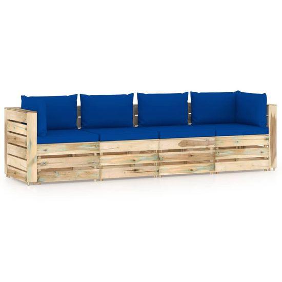 shumee Ogrodowa sofa 4-os z poduszkami, impregnowane na zielono drewno