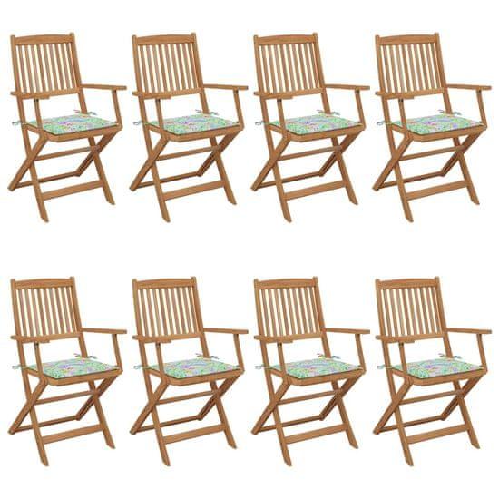 shumee Składane krzesła ogrodowe z poduszkami, 8 szt., drewno akacjowe