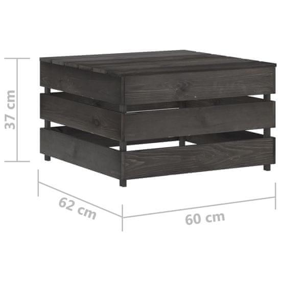 shumee 7-dielna záhradná súprava s podložkami sivé impregnované drevo