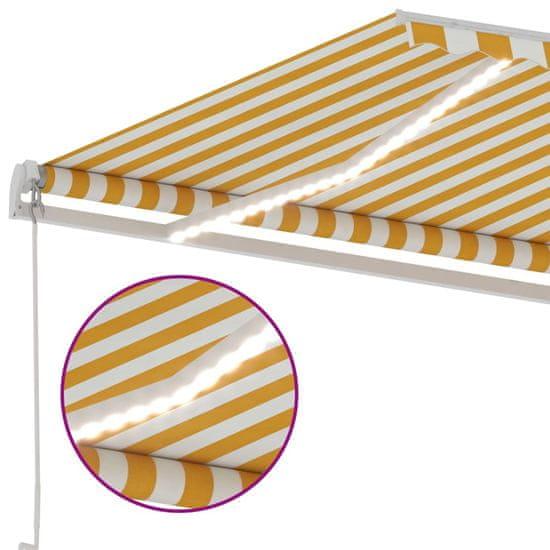 shumee Ręcznie zwijana markiza z LED, 500 x 300 cm, żółto-biała