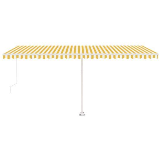 shumee sárga és fehér kézzel kihúzható póznás napellenző 500 x 350 cm