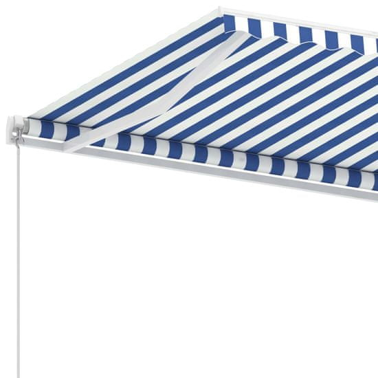 shumee Samostatne stojaca ručne zaťahovacia markíza 450x300 cm modro-biela