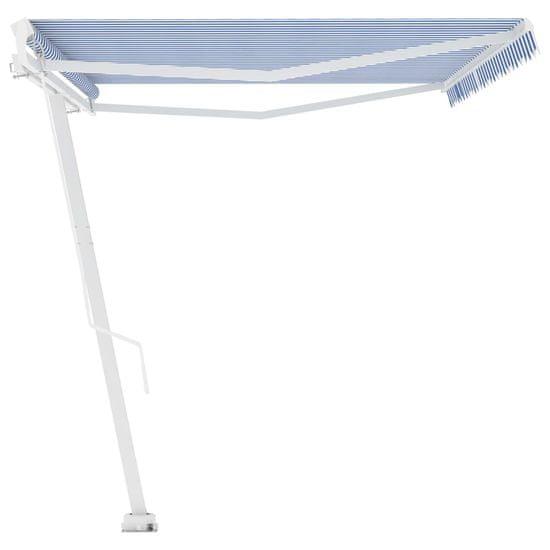 shumee kék és fehér kézzel kihúzható póznás napellenző 500 x 350 cm