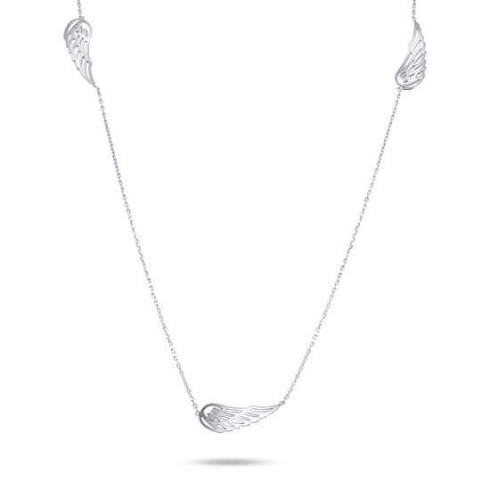 Brilio Hravý náhrdelník z bieleho zlata s anjelskými krídlami NCL067AUW biele zlato 585/1000