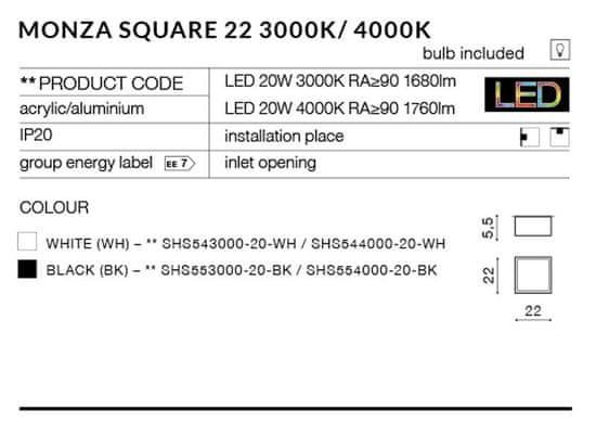 AZZARDO Monza Square 22 white LED mennyezeti és fali lámpa 4000 K AZ2268, 20 W, szögletes, fehér