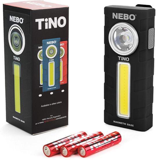 NEBO Tino ročna svetilka, LED, 300 lm, IPX4, črna