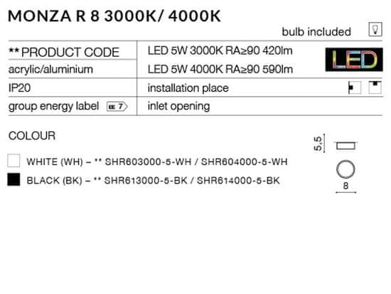 AZZARDO Monza R 8 white LED mennyezeti és fali lámpa 4000 K AZ2252, 5 W, fehér