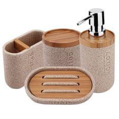 NIMCO Kora SET dávkovač, mýdlenka, dóza na kartáčky, dóza na tampóny, písk. béž./bambus - KO24000SET-86