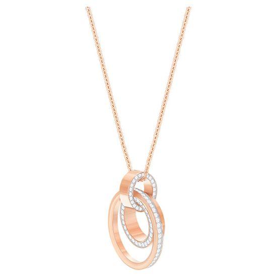 Swarovski Bronasta ogrlica z prozornimi votlimi kristali 5349418