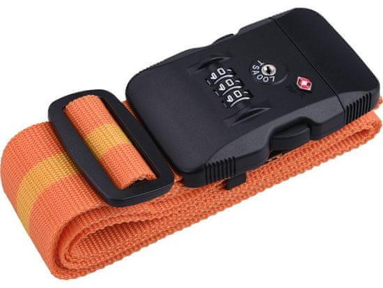 Extol Premium Popruh na batožinu s plastovou prackou a TSA zámkom, 190cm