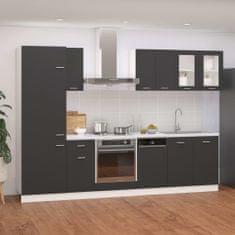shumee 8-dielna sada kuchynských skriniek sivá drevotrieska